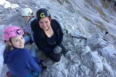 Ellen, Lynn en Yara op de Nordsteig van de Alpspitze
